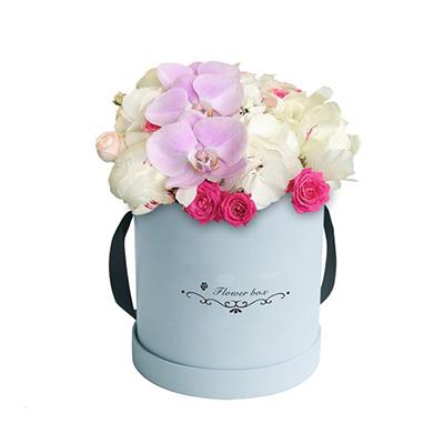 Blue Round Rose Flower Rigid Gift Box