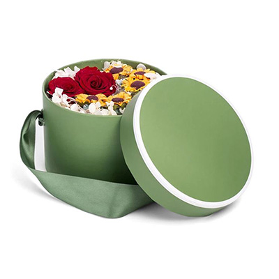 Green Round Flower Box With Ribbon