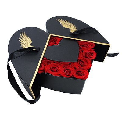 Heart Shaped Rose Flower Gift Boxes With Ribbon
